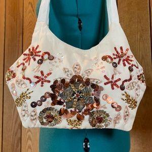 NWOT Rue21 Bead Hobo Natural Canvas Shoulder Bag